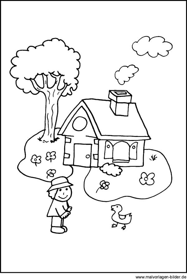 Kleines Haus - gratis Ausmalbilder für Kinder