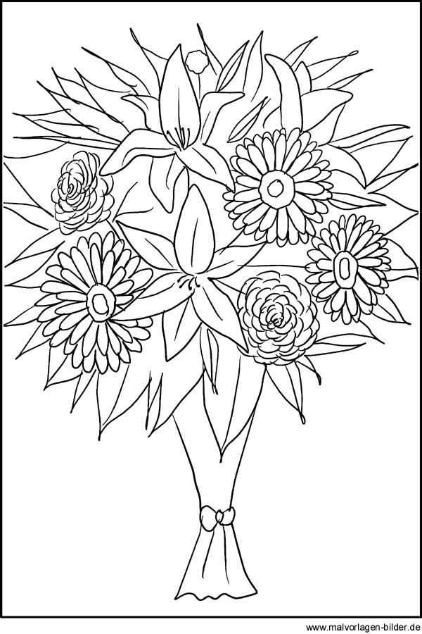 Blumenstrauß als Ausmalbild - Malvorlagen von Blumen