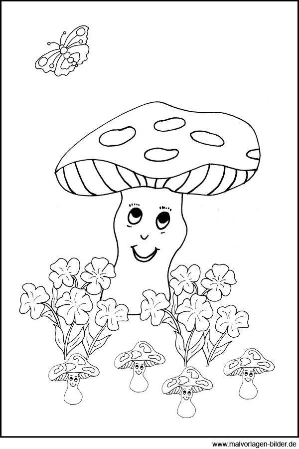Pilze - Malvorlagen zum Ausdrucken und Ausmalen