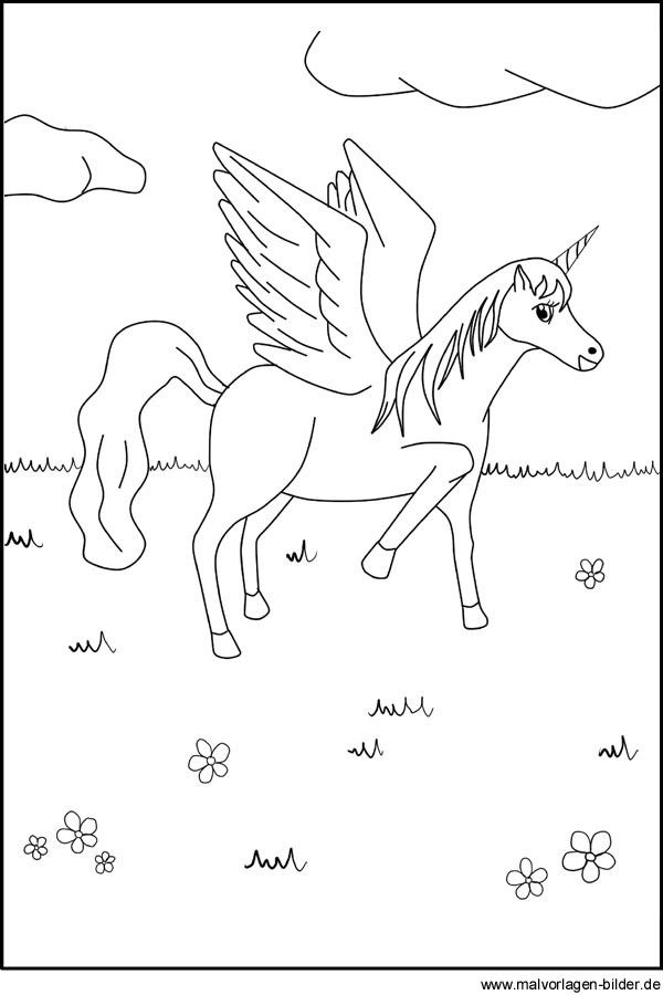 Pegasus Bild - Malvorlage zum Ausdrucken