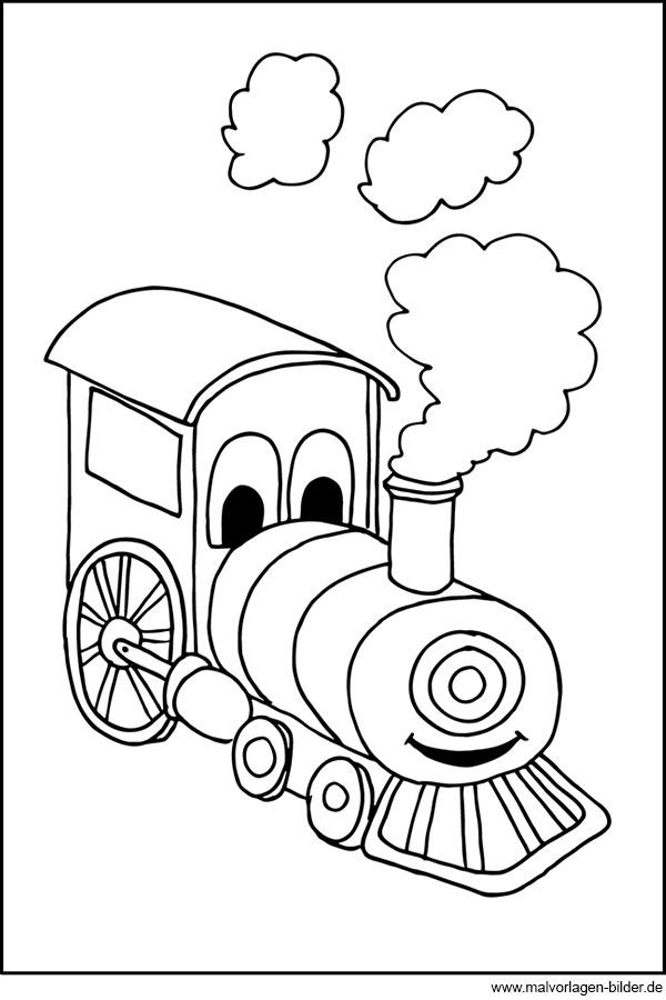 Kleine Lokomotive - gratis Malbild für Kinder