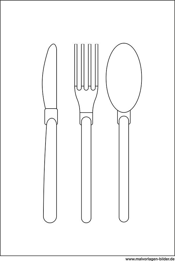 Messer Gabel Löffel - Ausmalbild & Malvorlage