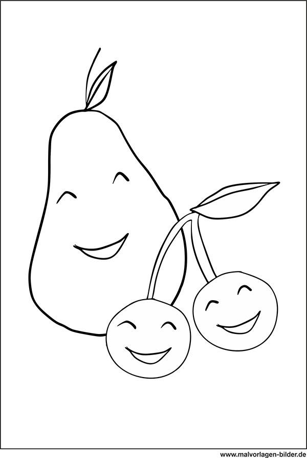 Obst Zum Ausmalen - Ausmalbilder