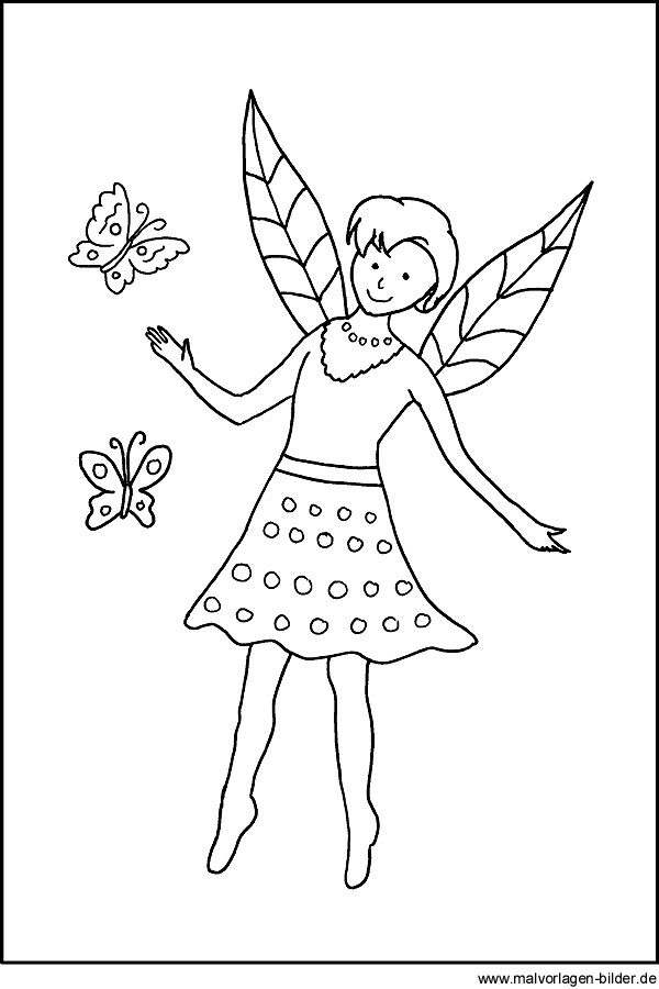 Ausmalbild - Elfe mit Schmetterling - kostenlose Malvorlagen