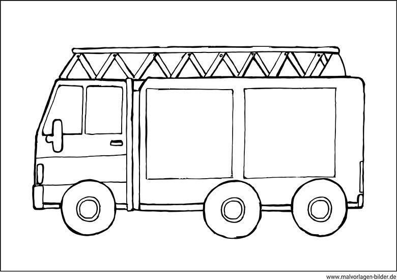 Ausmalbild Feuerwehrauto mit Leiter