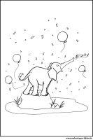 Ausmalbilder   Party Elefant mit Luftballons