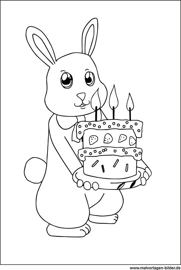 Ausmalbild - Hase mit Geburtstagstorte