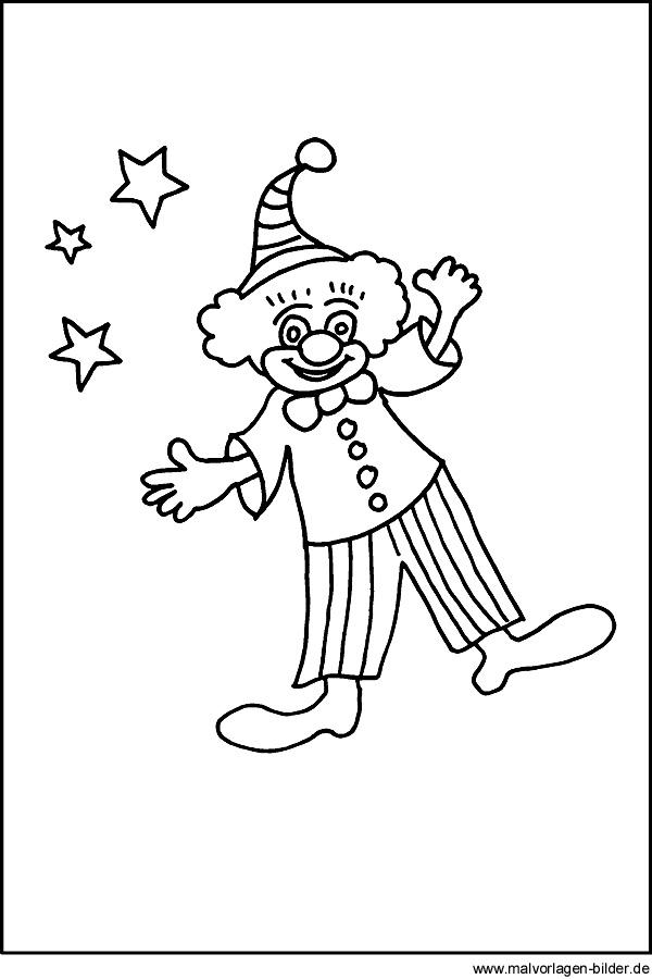 Kostenlose Malvorlage von einem Clown für Kinder