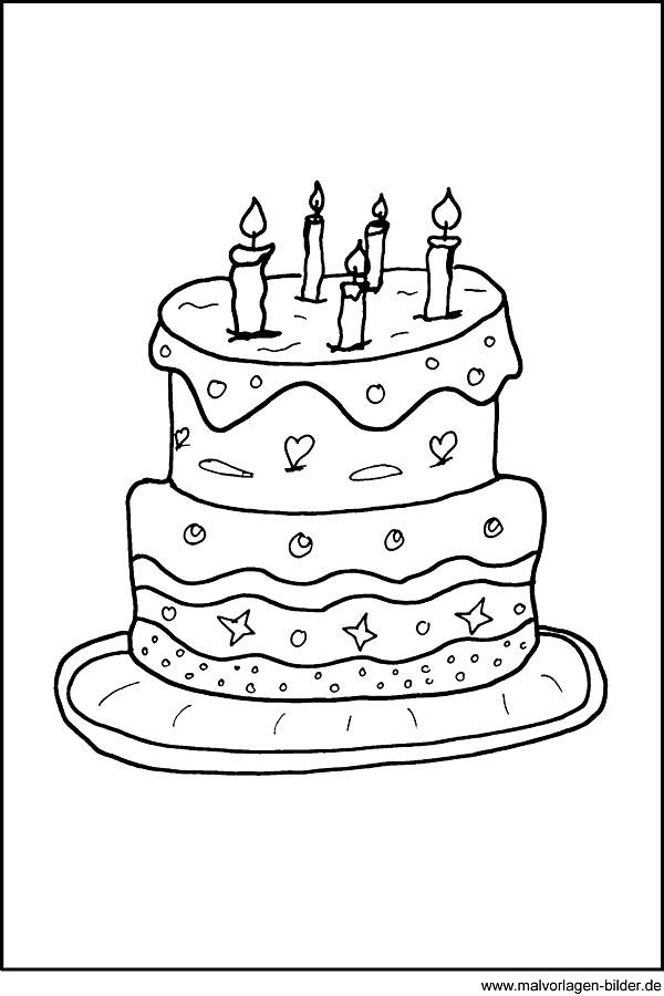 Malvorlage von einer Geburtstagstorte - Kuchen Ausmalbild