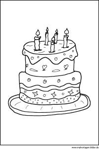 Geburtstagstorte Ausmalbilder Zum Ausdrucken Kostenlos