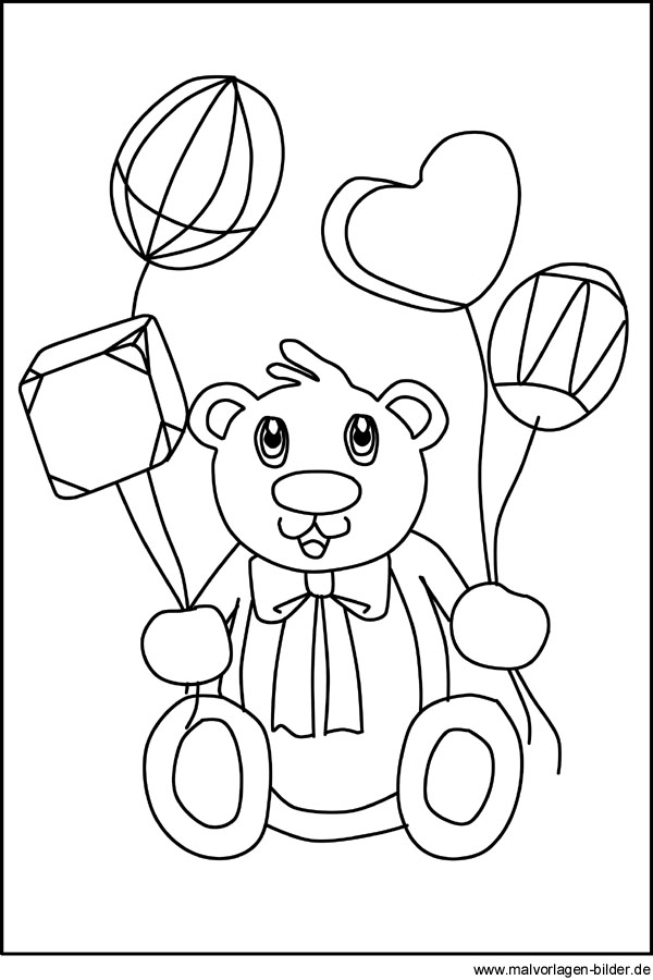 Teddybär - Kostenlose Malvorlagen und Ausmalbilder