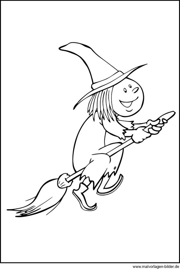 Gratis Ausmalbild - Hexe auf einem Besen