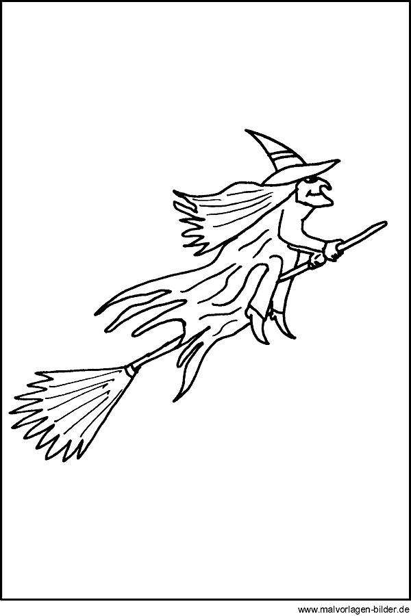 Halloween  Ausmalbild mit einer Hexe