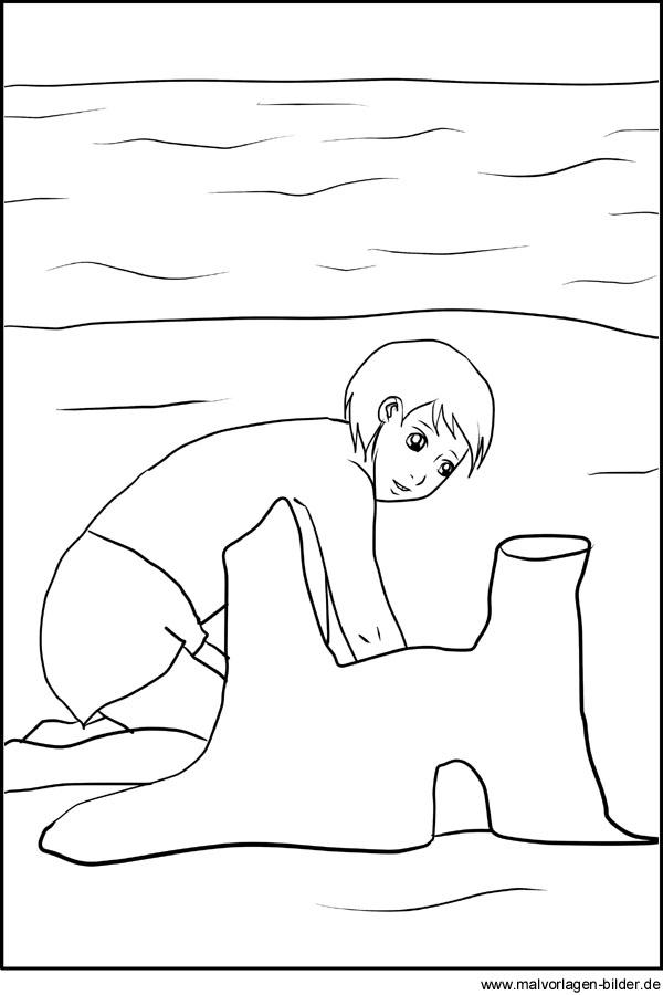 Ausmalbild - Kind spielt im Sommer am Strand