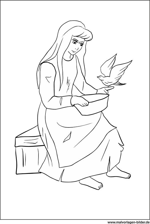 Aschenputtel - Märchen Malvorlage für Kinder