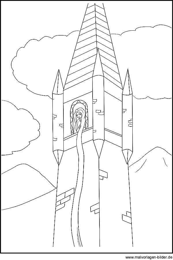 Rapunzel - Märchenbilder Malvorlagen und Ausmalbilder