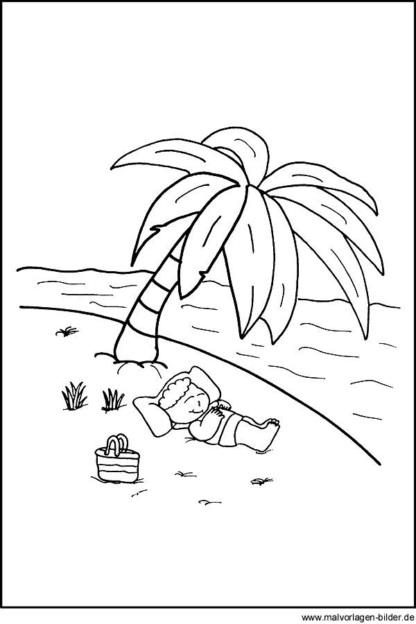 Malvorlage - Junge im Urlaub am Meer