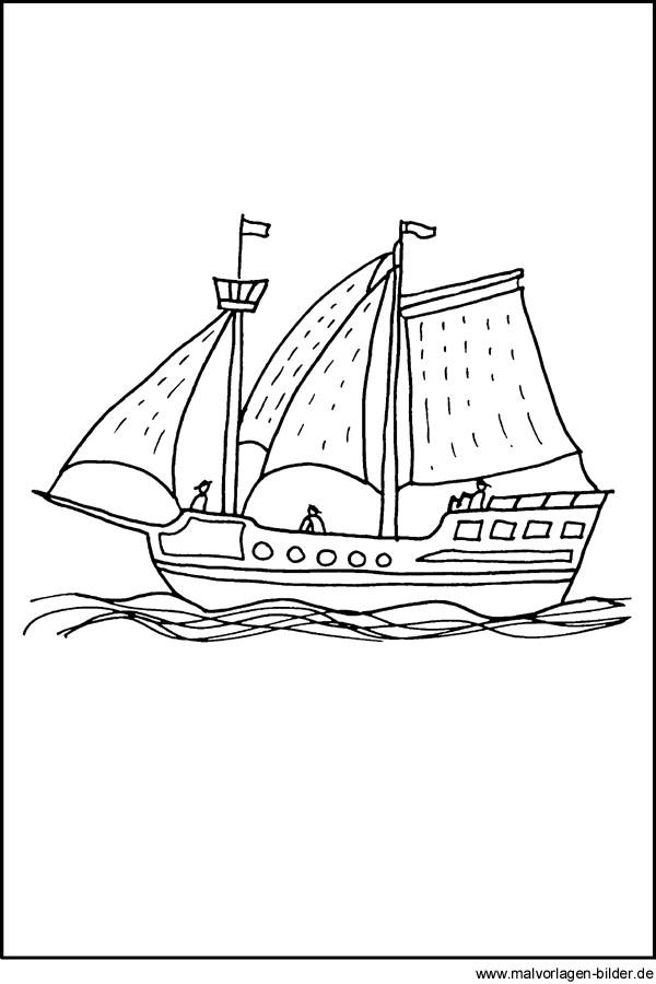 Malvorlag Piratenschiff - kostenlose Ausmalbilder