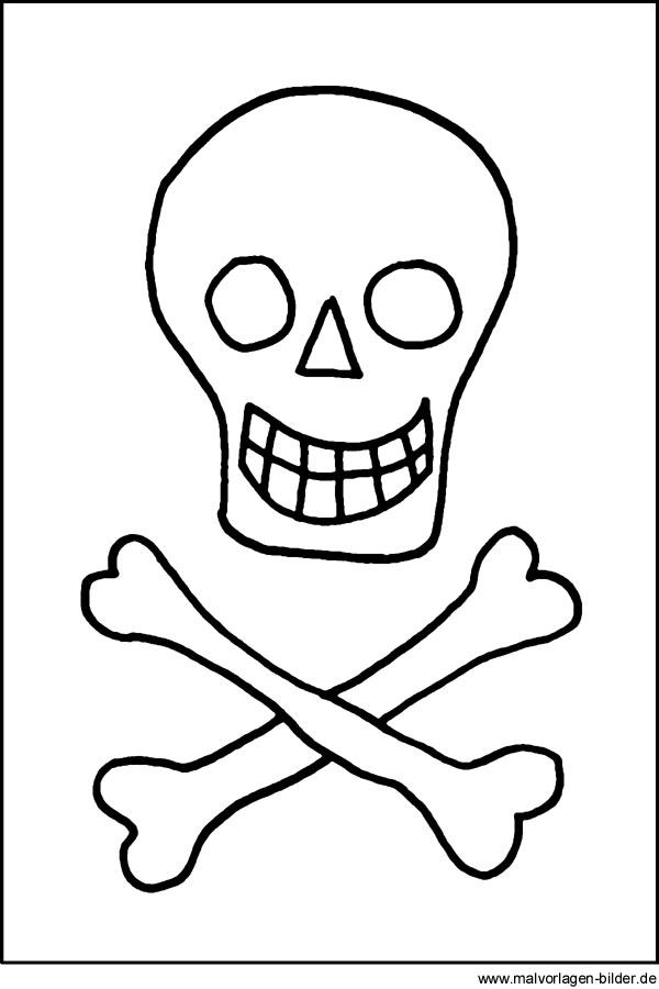 Malvorlage Totenkopf - kostenlose Ausmalbilder