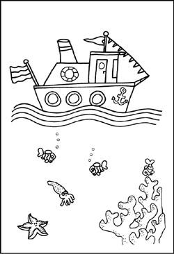 Malvorlagen - Schiffe und Boote