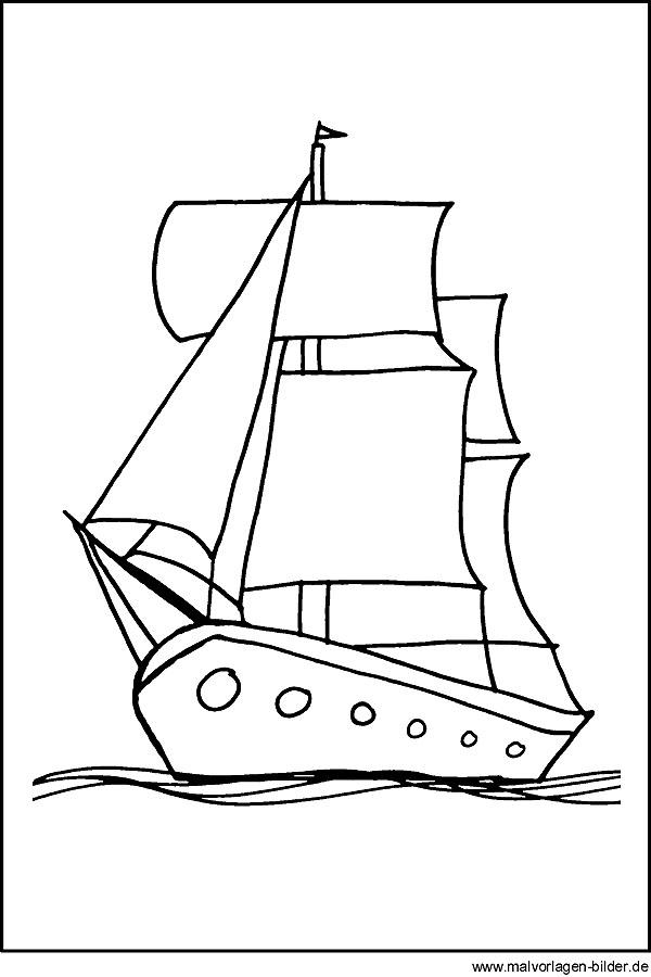 Kostenlose Malvorlagen Segelschiff - Ausmalbilder