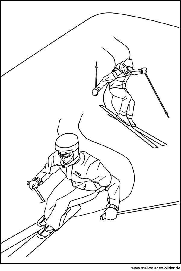 Skifahrer - Skifahren - Ausmalbilder zum Ausdrucken