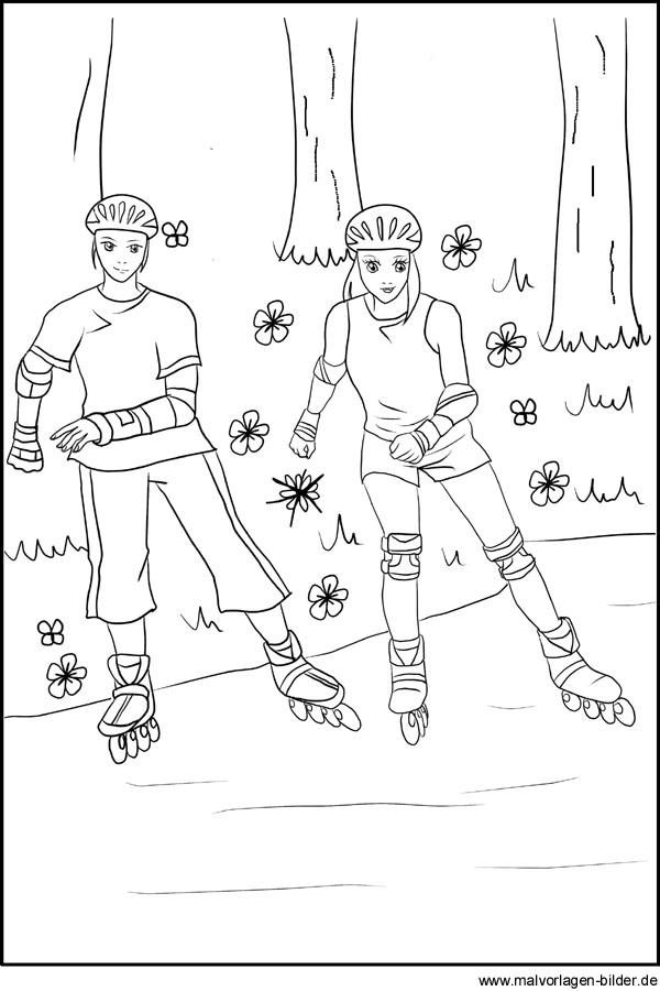 Malvorlagen - Inline Skating - Rollschuhe fahren