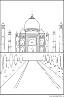 Tadsch Mahal   gratis Ausmalbild Zeichnung