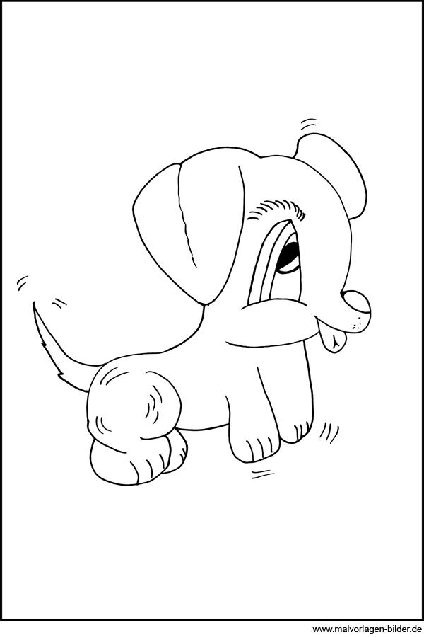 Kleiner süsser Hund - Malvorlage und Ausmalbild