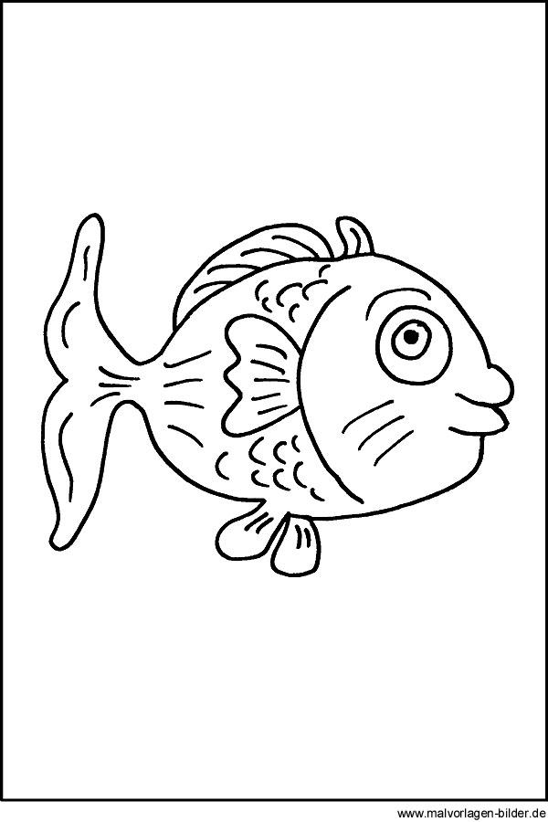 Malvorlage Fisch - kostenloses Ausmalbilder für Kinder