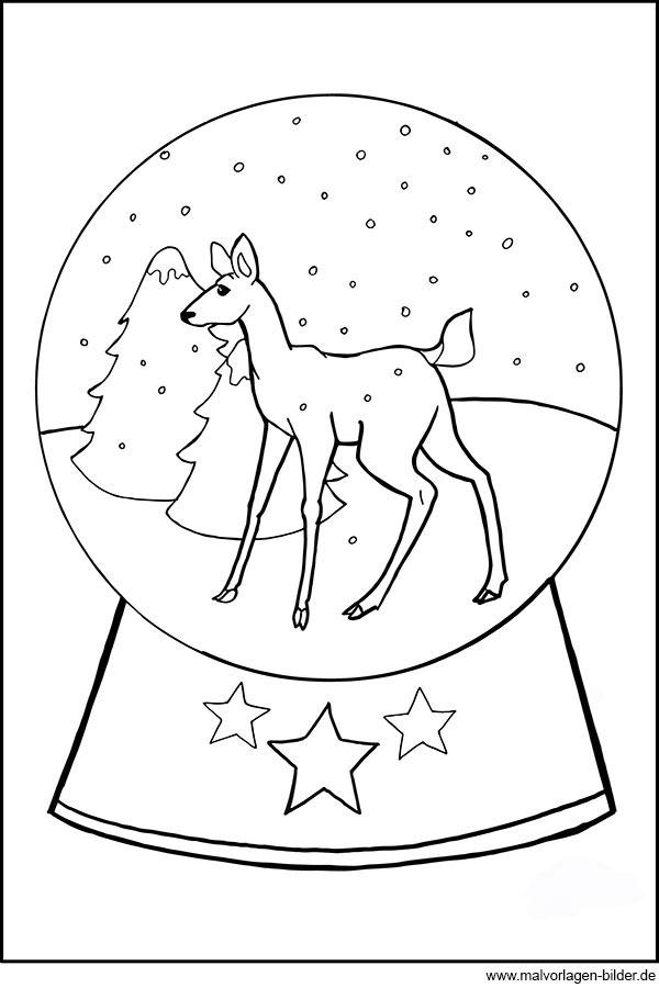 Schneekugel mit einem Reh - Ausmalbild für Kinder