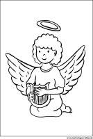 Ausmalbild – Engel mit Flügel und Harfe