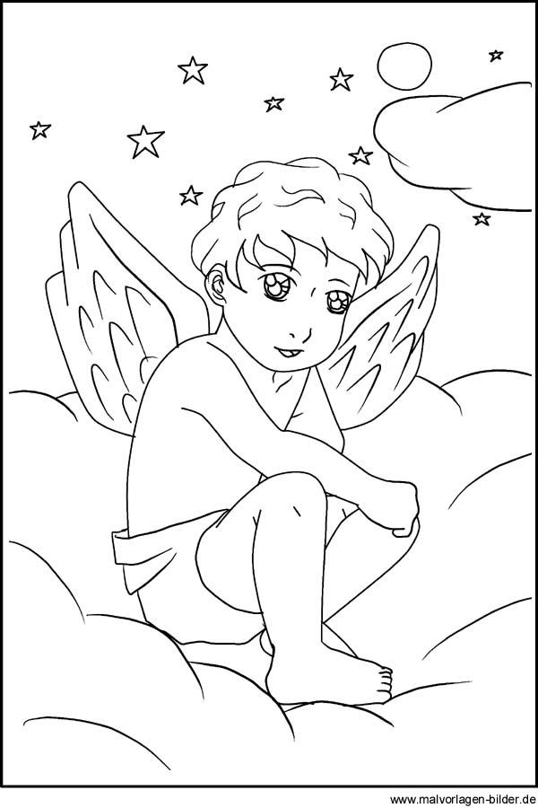 Engel - Malvorlage und Ausmalbild zum Ausdrucken