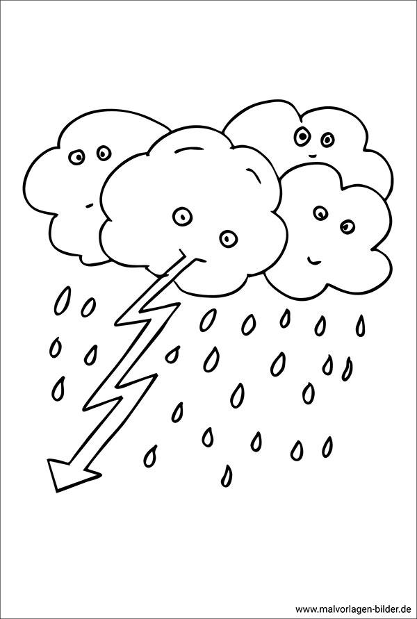 Gewitter - Ausmalbild zum Ausdrucken