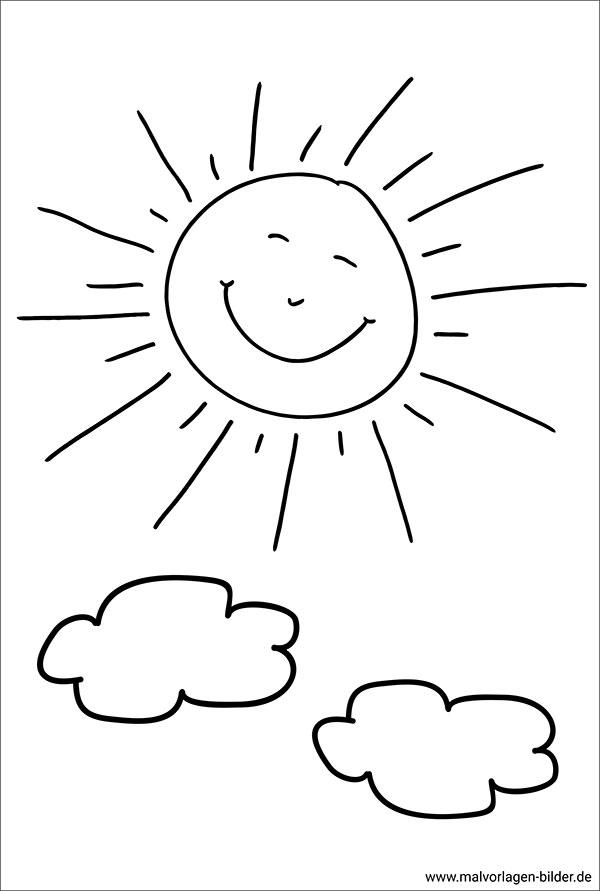 Sonne mit einem lustigen Gesicht - Malvorlage zum Ausdrucken