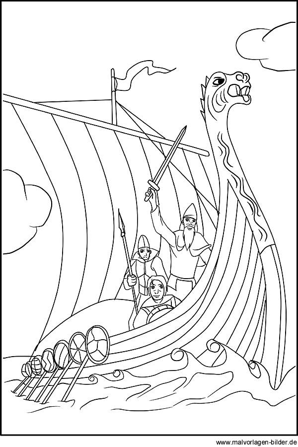 Wikingerschiff Gratis Ausmalbilder Malvorlagen Und Motive