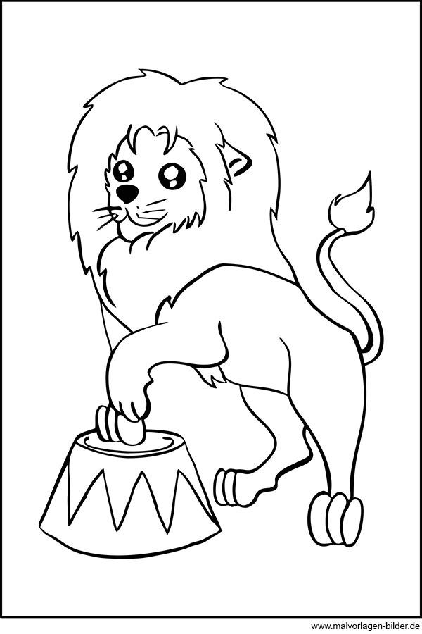 Löwe im Zirkus - Ausmalbilder zum gratis Download