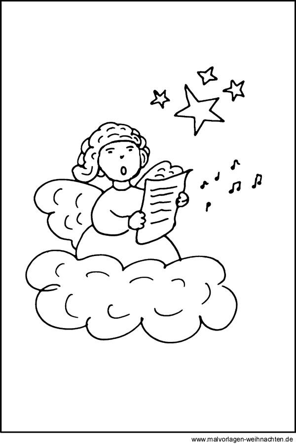 Malvorlage Engel - Kostenloses Ausmalbild für Kinder zum