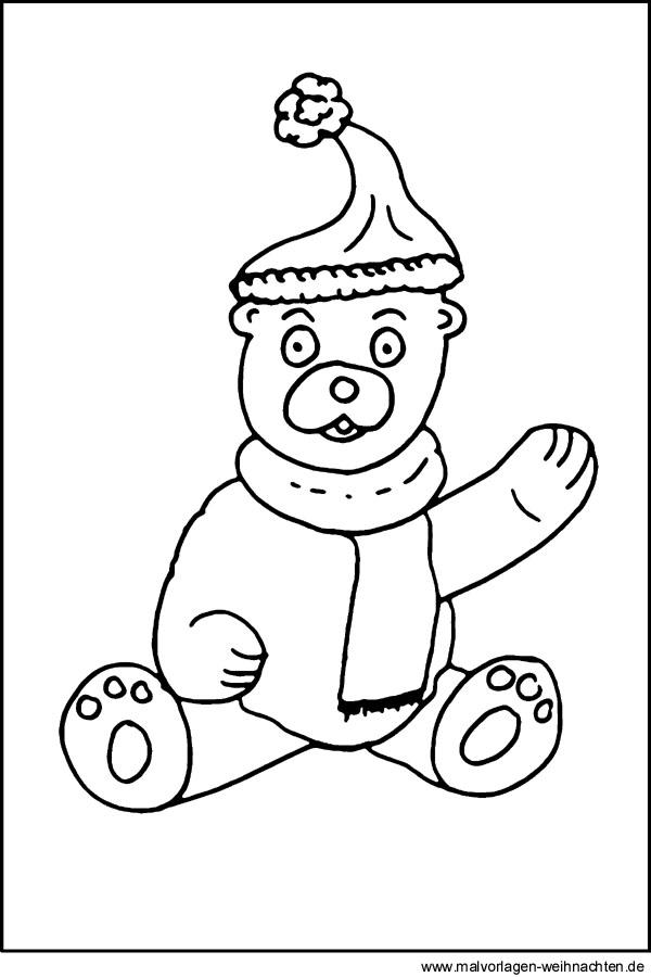 Malvorlage Teddybär - Kostenloses Ausmalbild zum Download