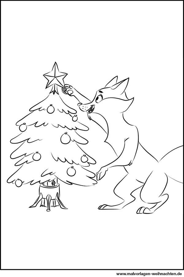 Weihnachtsbaum und der Weihnachtsfuchs - Ausmalbild