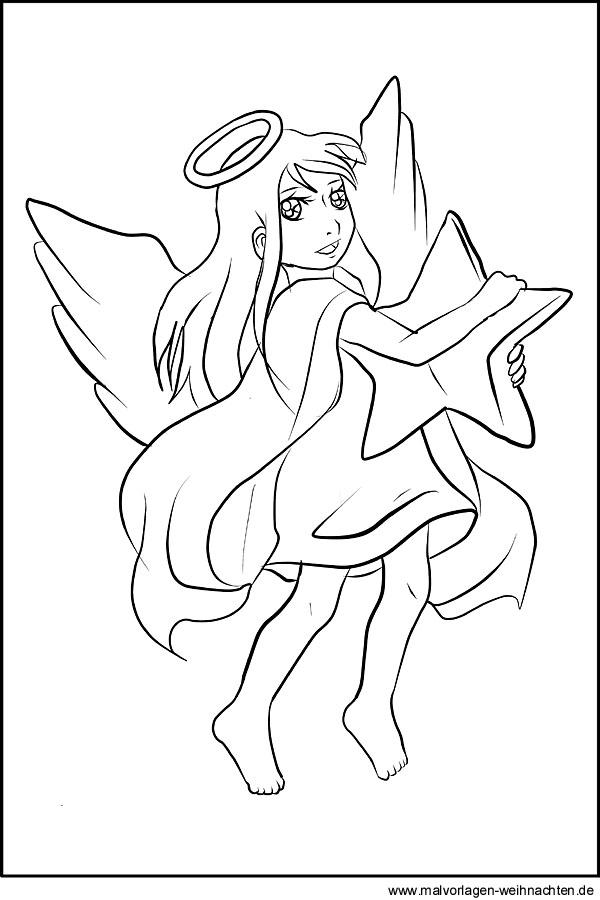 Engel mit Stern als kostenlose Malvorlage zu Weihnachten