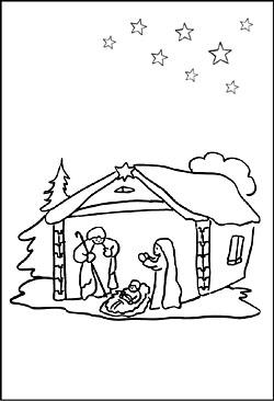 Ausmalbild Weihnachtskrippe - Malvorlage Krippe zum