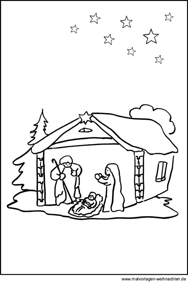 Malvorlage von einer Krippe - Maria Josef und Jesus