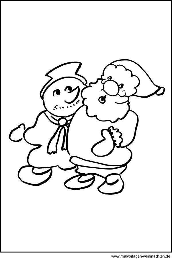 Malvorlage Schneemann Einfach - Zeichnen und Färben