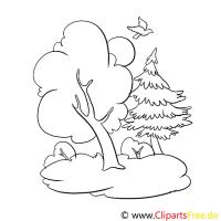 Wald, Bume Malvorlagen kostenlos