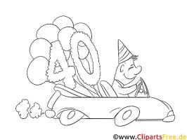 Bild zum 40 Geburtstag zum Ausmalen