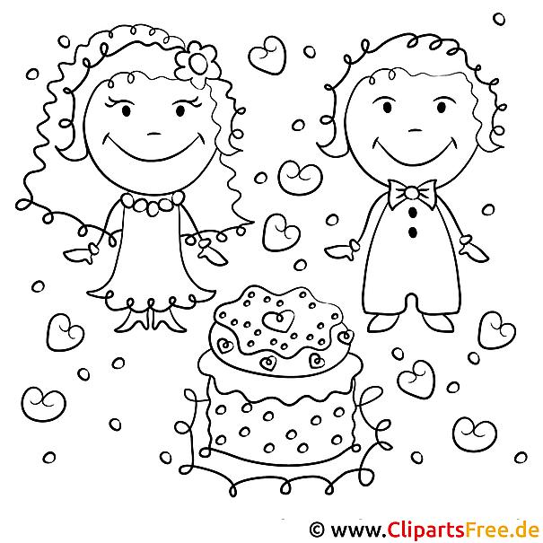 Ausmalbild Hochzeit - Brautpaar und Torte
