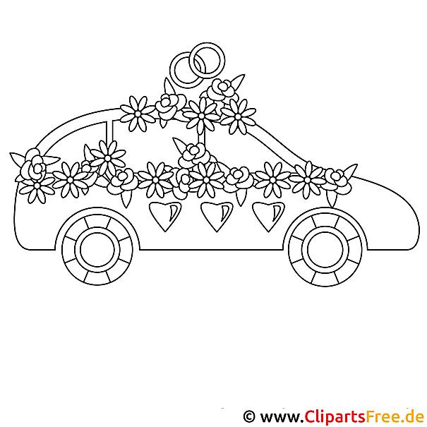 Hochzeit Auto Bild zum Ausmalen