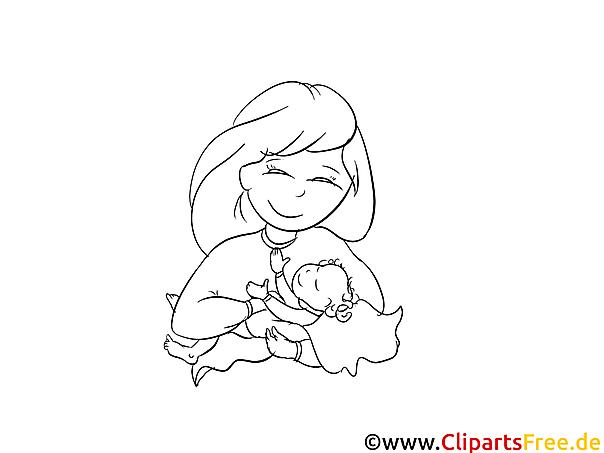 Glckliche Mutter Taufe Ausmalbild