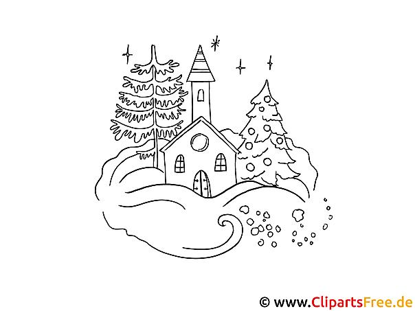 Weihnachten Zum Ausmalen Gebirgedorf Im Winter